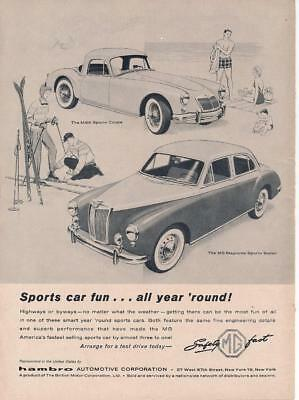 Vintage Magazine Ad - 1958 - MG - MGA  Sports Coupe & MG Magnette Sports Sedan