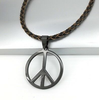 Peace Sign Necklace Charm Hippy Anti War Woodstock NEW 925 Sterling Silver