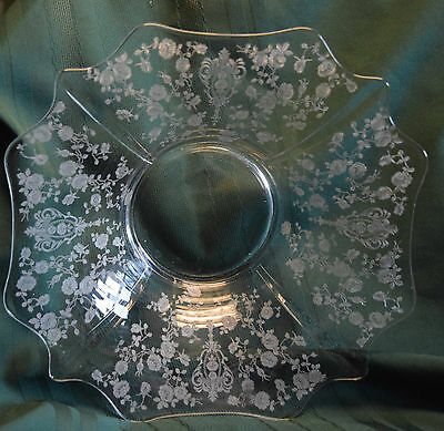 """Vintage Cambridge Rose Point 13.25"""" Fluted Flared Clear Flat Bottom Console Bowl"""