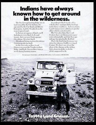 1973 Toyota Land Cruiser photo with Native American Indian vintage print ad