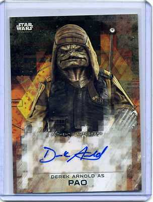 TOPPS STAR WARS ROGUE ONE SERIES 2 DEREK ARNOLD as PAO AUTOGRAPH BLACK 16/50