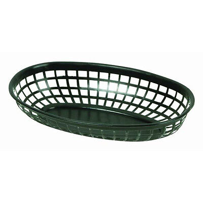 "8 PC Plastic Fast Food Basket Serving Baskets Oval 9-3/8""  Black PLBK938K"