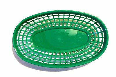 "4 PC Plastic Fast Food Baskets Basket Tray 9-3/8"" x 5-3/4"" Oval GREEN PLBK938G"