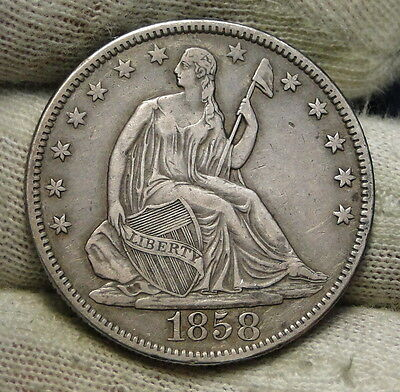 1858 Seated Liberty Half Dollar 50 Cents - Nice Coin, Free Shipping (6042)