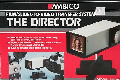 8mm Super 8 16mm MOVIE or SLIDES TO VIDEO CONVERTER Ambico V-0612 MINT IN BOX