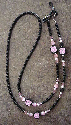 !pink Pig Lover Handmade With Swarovski Crystals  !!! Eyeglass Chain  !!