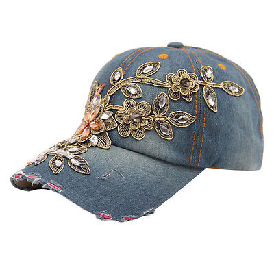 2017 New Vogue Women Diamond Flower Baseball Cap Summer Style Lady Jeans Hats