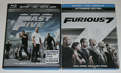 Action Blu-ray DVD Lot - Fast Five (Used) Furious 7 (Used)