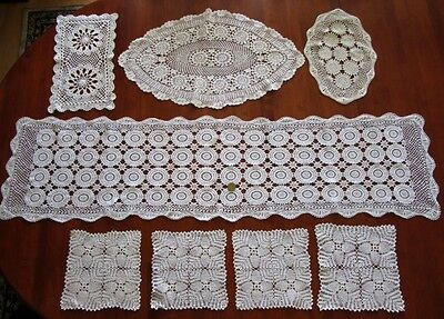 8 Vintage hand crocheted doilies & large table runner, white and creamy white EC