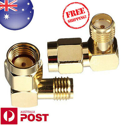 Brass RP-SMA Male Plug To SMA Female Jack Right Angle Crimp RF Connector Z126F