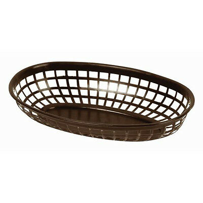 "6 PC Plastic Fast Food Basket Serving Baskets Tray 9-3/8"" Oval Dark Brown"