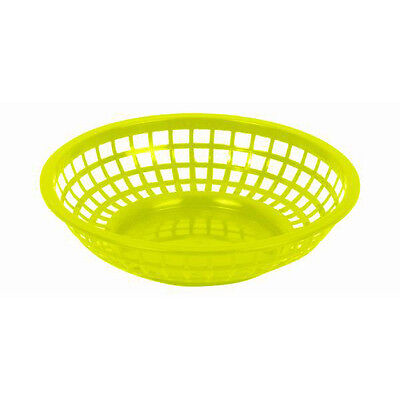 "6 PC Plastic Fast Food Basket Baskets Tray 8"" Round YELLOW PLBK938Y"