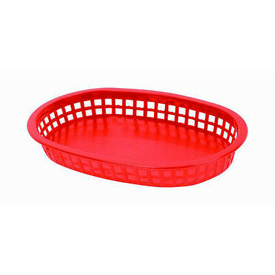 "12 PC Large 10-3/4"" Plastic Fast Food Basket Baskets Tray RED PLBK1034R"