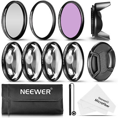 Neewer 62MM UV CPL FLD Lens Filter and Close-Up +1 +2 +4 +10 Lens Filter Kit