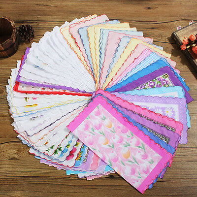 Lot 50pcs Various Hankies Lady Women Cotton Floral Flower Handkerchiefs 28X28cm