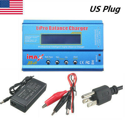 iMAX B6 LCD Screen Digital RC Lipo NiMh Battery Balance Charger + AC Adapter US