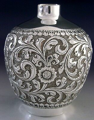 SUPERB HEAVY ANGLO INDIAN SILVER VASE CUTCH c1890 ANTIQUE 155g