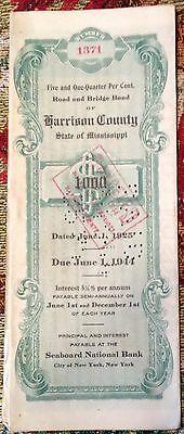 June 1 1925 Harrison County Mississippi $1000 Road And Bridge Bond #1371