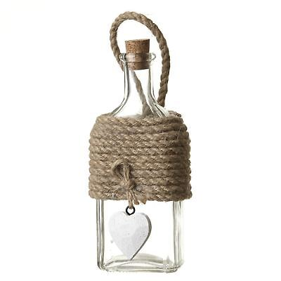 Wall Hanging Small Square Glass Bottle Rope & White Heart Detail BYX224