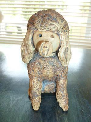 """Hand Crafted Art Pottery  Brown Poodle Spaghetti Design 4.5"""" Figure"""