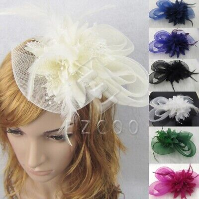 Women Party Fascinator Feather Pillbox Hat Lady Hair Accessory Clip Veil YBWJ211