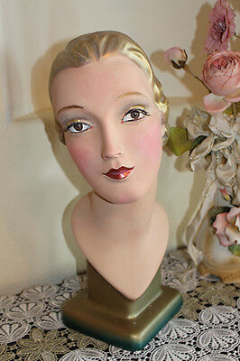 ANTIQUE MANNEQUIN DISPLAY HEAD BUST 1920 Vintage