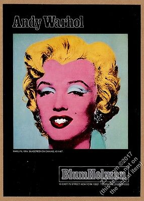 1976 Marilyn Monroe photo portrait by Andy Warhol NYC gallery vintage print ad