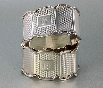 Pair Of Quality Paneled Sterling Silver Engine Engraved Napkin Rings 1919 59 Grm