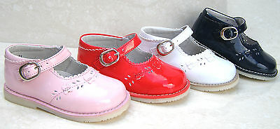 New Baby Girls Leather Lined Patent Buckle Ballerinas Party Shoes Sizes 2 3 4 5
