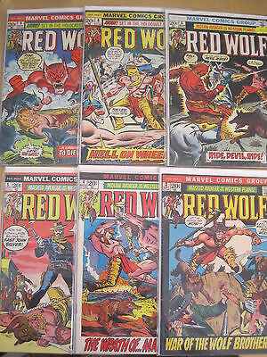 RED WOLF, MASKED AVENGER of the WESTERN PLAINS #s 3,4,5,6,8,9.MARVEL 1972 SERIES