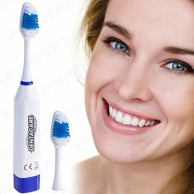 ELECTRIC VIBRATING TOOTHBRUSH + HEAD Oral Dental Teeth Cleaning Battery Powered