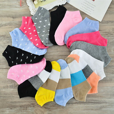 1/5/10 Pairs Women Lady Girls Sports Casual Ankle Boat Socks Heart Stripe Cotton