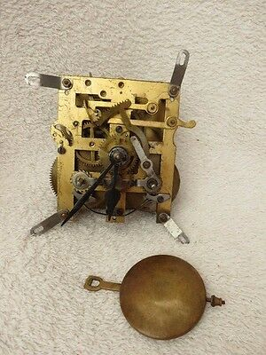Vintage German 8 Day Striking Clock Movement, Hands, And Pendulum