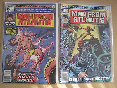 MAN FROM ATLANTIS : issues 3,4,6,7. CLASSIC 70's TV SHOW. MARVEL 1978 SERIES