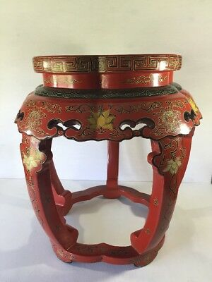 Chinese Lacquer Table Wood Carved Hand Painted Floral Red Black