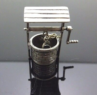 Unique Sterling Silver 925 Movable Water Well With Bucket Figurine