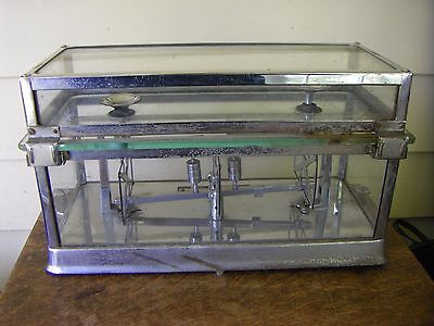 Vintage Torsion Balance Medical Scale in Glass & Chrome Container