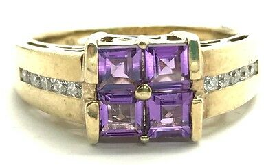Sterling Silver 925 Gold Tone Princess Cut Purple Amethyst CZ Band Cocktail Ring