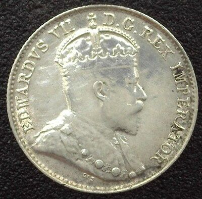 Canada 1907 Silver 5 Cents  Uncirculated+