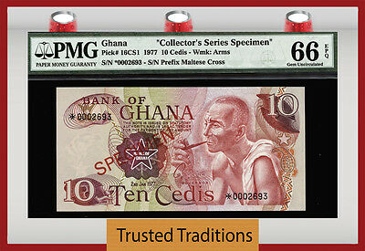 "Tt Pk 16Cs1 1977 Ghana 10 Cedis ""collector's Series Specimen"" Pmg 66 Epq Pop Two"