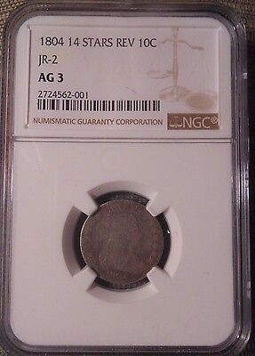 1804 Silver Dime 10C  Draped Bust  Heraldic Eagle  NGC AG3  JR-2