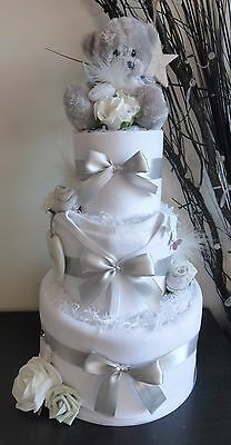 Cute teddy topped 3 tier Unisex Nappy Cake. Ideal new baby gift