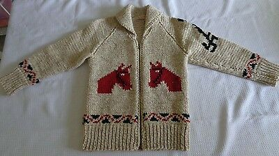 Hand Made Knit Boys HEAVY zippered vintage Cowichan sweater horse collar zipper