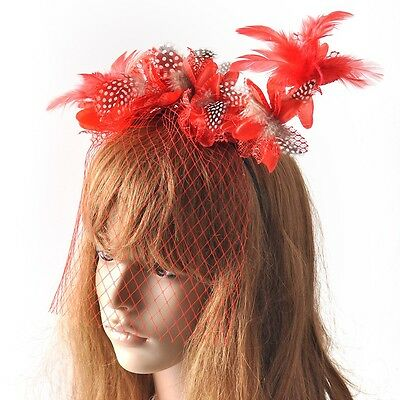 Red Women Bridal Fascinator Wedding Party Feather Flower Veil Headpieces Proms