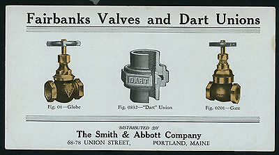 Fairbanks Valves and Dart Unions ink blotter Ad for Smith & Abbot Portland, ME