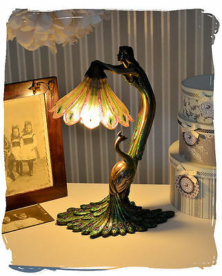 Table Lamp Art Nouveau Female Figure Peacock Lamp Type Nouveau Light