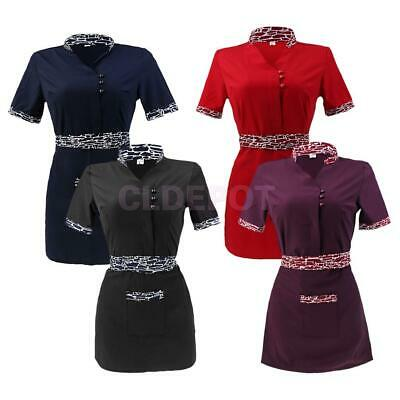 Chef Workwear Restaurant Waiter Waitress Jacket Coat Hotel Uniform with Apron