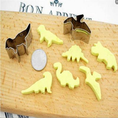 6x/Set Dinosaur Shaped Cookie Cutters Biscuit Pastry Craft Bake Cook Kitchen LD