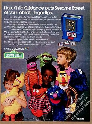 1973 Sesame Street Roosevelt Franklin puppet Cookie Monster photo print ad