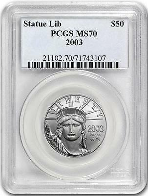 2003 PLATINUM EAGLE PCGS MS70 $50 *POP only 72 Coins * STATUE OF LIBERTY